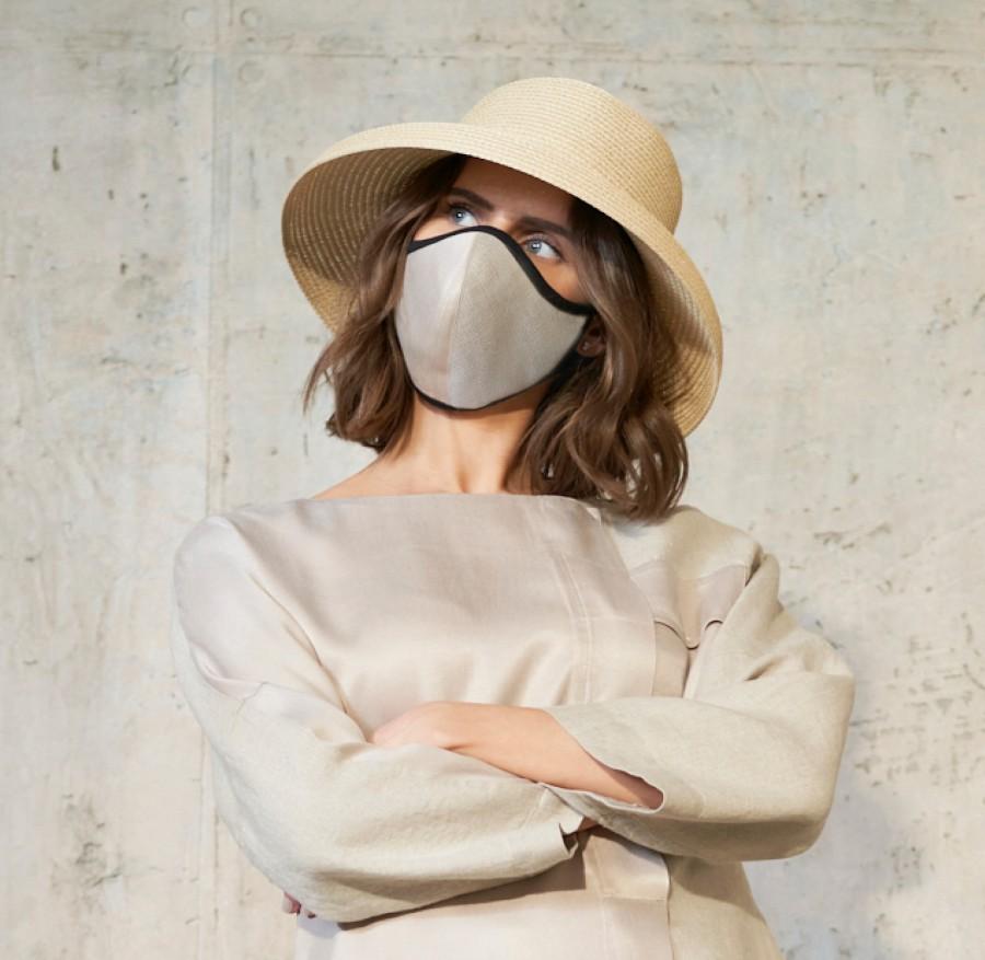 Apsauginė kaukė veidui su 100% cupro ir linu